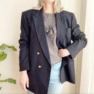 Vtg Navy Blue Oversized Boyfriend Blazer Wool XL